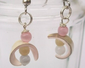 Shell earrings bow with Pastel colored glass CatEye beads, also called ear clip