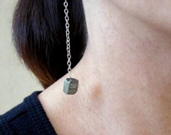 Long pyrite silver chain earrings