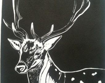 Fallow Deer stag linocut