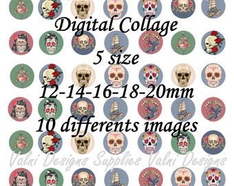 Skull, Tattoo style, Digital Collage Sheet, Ready to print, 12mm, 14mm, 16mm, 18mm, 20mm, Instant Download