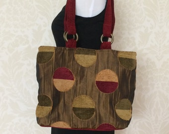 Geometric Art Tote and Scrunch Bag in Dark Red, Green and Gold