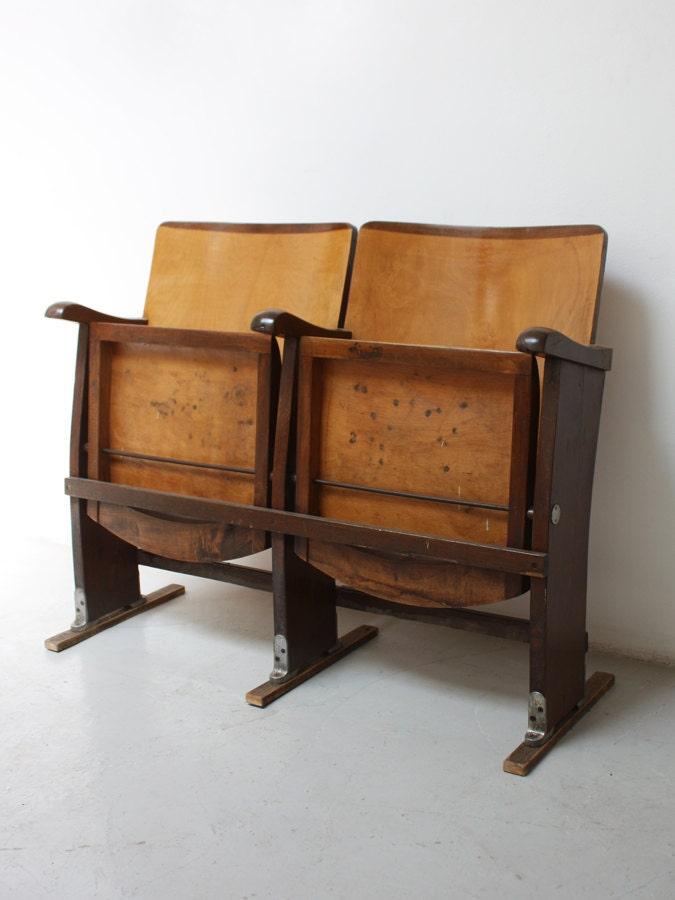 Sedie Da Cinema In Legno.Fila Da 2 Sedie Cinema In Legno Bicolore Originali Wooden Cinema