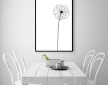 "Dandelion Modern Abstract Wall Art Printable - 24 x 36"" Poster - Black & White Nordic / Scandinavian Minimalist Decor - INSTANT DOWNLOAD"