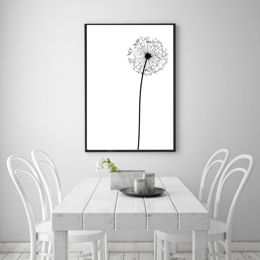 Dandelion modern abstract wall art printable 24 x 36 for Minimalist wall decor ideas