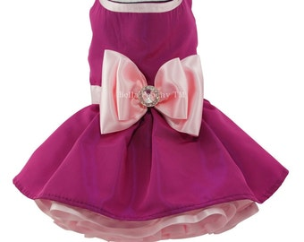 Dark Pink & Light Pink Couture Party Dress for Dogs by Bella Poochy TM