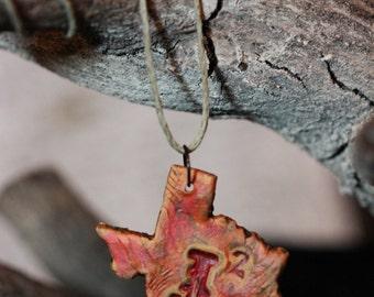 Supernatural J2 necklace burnt orange on hemp SPN Ackles Padalecki