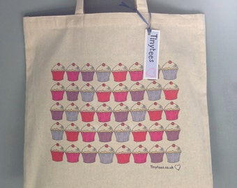 CanvasTote Bag with Cupcakes Design