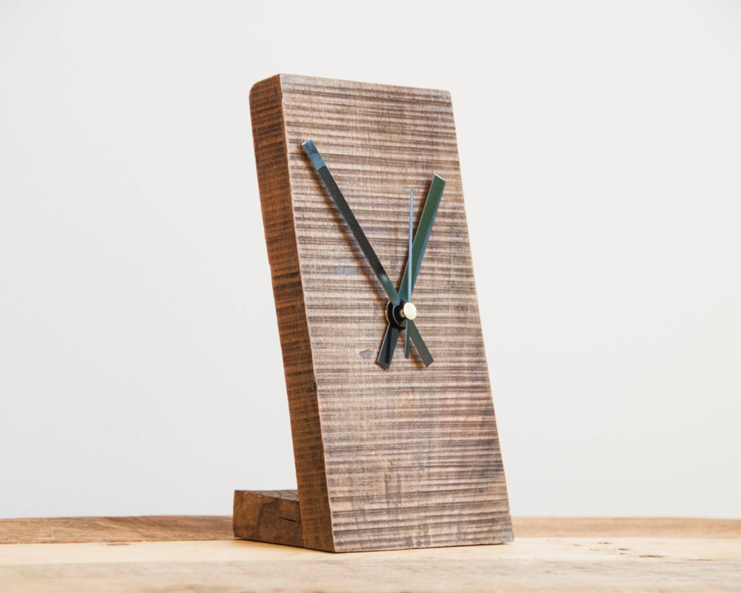 Small Wooden Clock Minimal Desk Modern By PalletablesUK