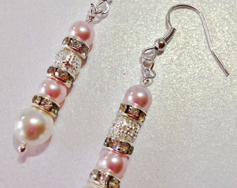 Pink Pearl Earrings Pearl Wedding Earrings Swarovski Crystal Pink Bridesmaid Gift Mother of the Bride Pink Pearl Drops Crystal Pearl Dangles