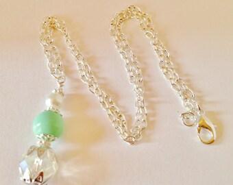 Mint Green Wedding Necklace Bridal Jewelry Bridesmaid Gift  Mint Green Jewelry Crystal Jewelry Crystal Necklace Wedding Set Crystal Pendant