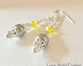 Bridesmaid Earrings Silver Pearl Earrings Grey Earrings Bridesmaid Gift Swarovski Crystal Lemon Crystal Lemon Earrings Wedding Jewelry