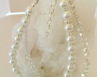 Crystal Wedding Bracelet Ivory Pearl Bracelet Multi Strand Bridal Bracelet Mother of the Bride Gift Ivory Wedding Party Gift Ivory Jewelry
