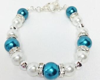 Teal & White Pearl Wedding Bracelet Bridesmaid Bracelet Jewelry Set Wedding Bracelet Handmade Wedding Jewelry Rondelle Beaded Jewelry