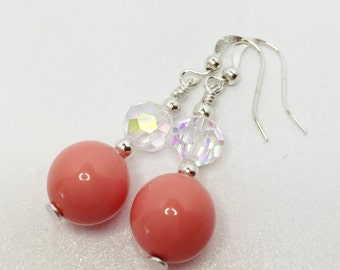 Coral Pearl Earrings Shell Pearl Earrings Crystal Earrings Wedding Jewelry Bridesmaid Gift Coral Drop Earrings Mother of the Bride