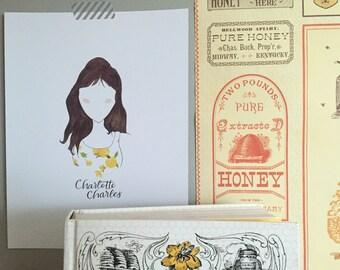 """Charlotte Charles """"Chuck"""" - Pushing Daisies Watercolor Print"""