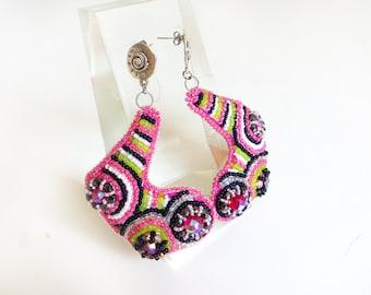 60s earrings MOD jewelry / handmade psychedelic jewelry earrings / Bright Rave Earrings / Pink Chandelier Earrings Gift for Hippie Earrings