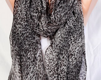 chiffon Scarf shawl leopard scarf summer scarves spring scarf Womens fashion scarves womens clothing perfect gift Ideas For Her