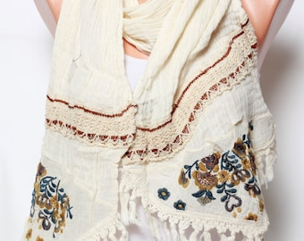 cotton scarf shawl lace scarf cream scarf Womens fashion scarves womens scarves fashion accessories mothers day gift Ideas For Her Holiday