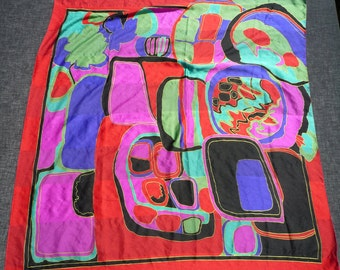 """Abstract Multi Colored Red Bordered Large Silk Scarf  35"""" x 33"""""""