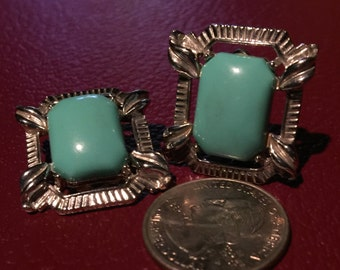 Vintage Acrylic Earrings Aqua Clip