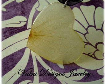 Real White Rose Petal Necklace, Real Flower, Real Petal Organza Necklace, Resin, Handmade