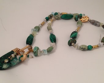 Malachite touge with pearls, aquamarine and turquoise necklace