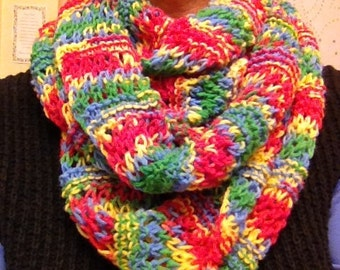 Hand Knit primary color infinity scarf