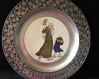 Wilton Pewter Vintage Victorian Kate Greenway collector plate, mother and children in the rain