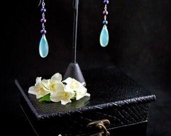 Crysophrase earrings/crysophrase and pearl earrings /sea green quartz earrings /pearl drop earrings /shoulder duster earrings by Lolafae