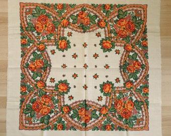 Vintage woolen shawl Woolen scarf with floral pattern #75