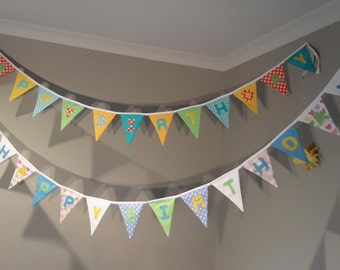 Happy Birthday Bunting/Banner - By Beespoke Bunting.