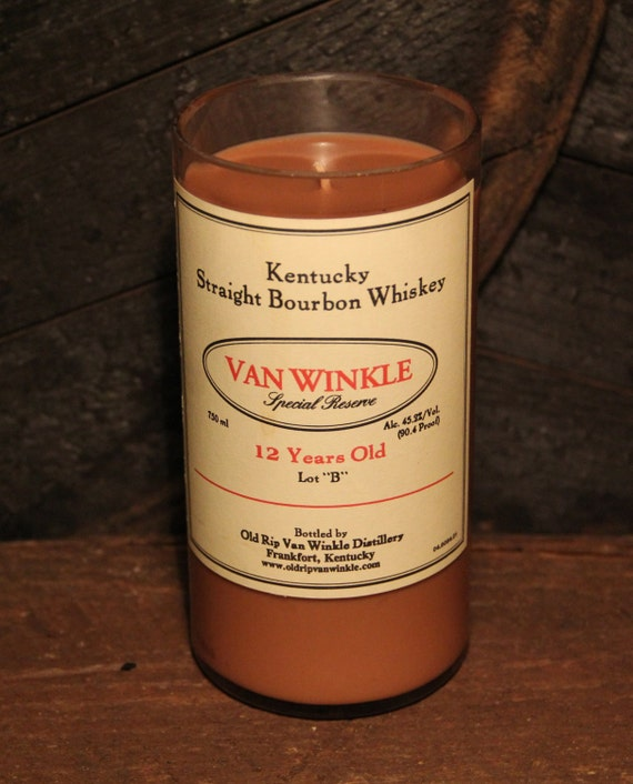 Upcycled Van Winkle Bourbon Candle - Recycled Whiskey Bottle Candle Handmade Soy Candle 750ml Recycled Glass Bottle 20oz Soy Wax