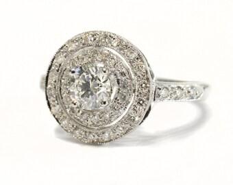 Diamond Target Ring set in 18ct White Gold