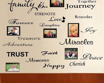 FAMILY IS.. Word Collage 20 words. ~ Wall or Window Decal