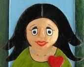 Papier mache black hair girl portrait wall frame,OOAK,bright colors,red heart,wall decor,home decor,girls wall art,valentines day