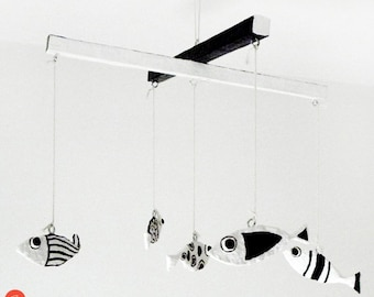 Fish mobile,kid fish mobile,black & white,paper mache,paper art,recycled art,eco friendly,paper pulp,kids room decor,nursery decor,kids gift