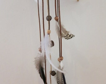 Mistygypsy feather and driftwood wind chime