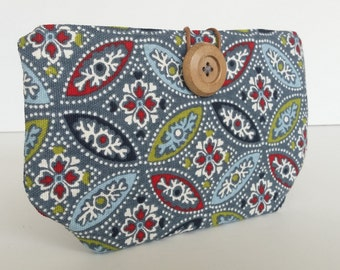Blue floral Small button pouch