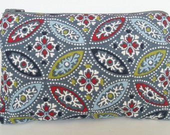 Blue floral Small zippered pouch