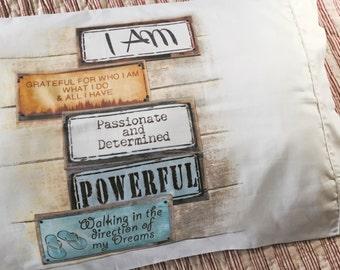 Gratitude, Inspiration, Affirmation and Healing Pillowcase - I am grateful for who I am...