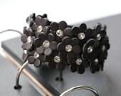 Black Flower Leather Bracelet with Diamonds, leather cuff bracelets for women