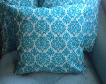 Blue Turquoise Damask Pattern 16 x 16 throw pillow (pocket pillow case)