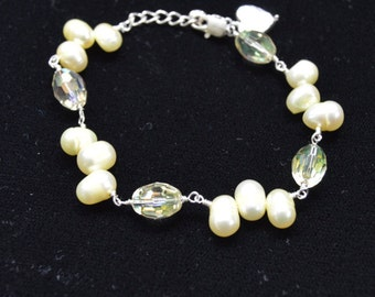 Yellow Pearl and Crystal Bracelet, Yellow Pearl Necklace, Yellow Crystal Bracelet, Yellow Bracelet, Yellow Jewelry