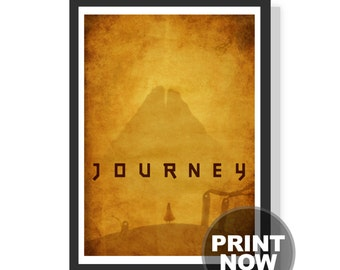 Journey game - Vintage style - Gold - Mountain - Self discovery - Premium A2 LARGE Poster Print - Instant download - Printable