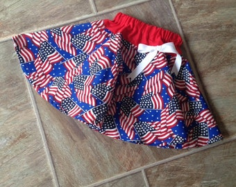 CLEARANCE SALE - 25% OFF - Patriotic Twirl Skirt, Baby Toddler Girls Flag Skirt, One Size 3T Available Only
