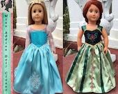 Disney Inspired Frozen's Queen Elsa and Princess Anna's Coronation Dress 18 inch American Girl Full Skirt Doll Dress