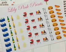 59 BBQ Cookout Stickers - Perfect for Erin Condren Life Planners / Journals / Stickers.