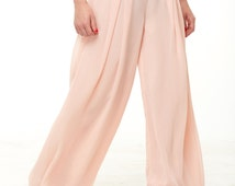 Chiffon loose pants Trousers with pleats Pink chiffon formal trousers ,Party pants chiffon.