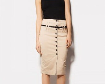 Beige Pencil Skirt Knee Length Formal Skirt Classic.