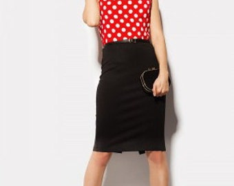 Summer dress Black Red polka Dot Fitted Dress Knee Length Sleeveless Pencil Dress.